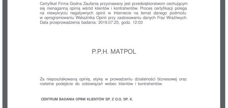 Certyfikat Firma Godna Zaufania 2019